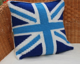 Blue union jack pillow - Knitted cushion cover