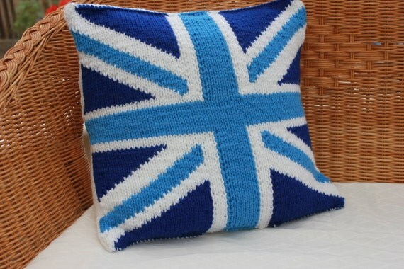 Knitting Pattern Union Jack Cushion Cover : Blue union jack pillow Knitted cushion cover by WoollyBudgie
