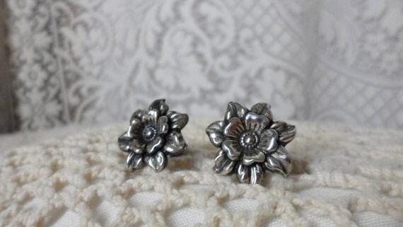 Sterling Daffodil Earrings Screw Back Vintage Jewelry Single Flower