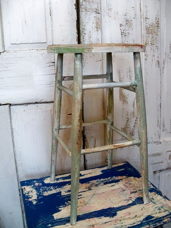 Wood farmhouse stool distressed hand painted wooden salvaged decor plant stand Anita Spero