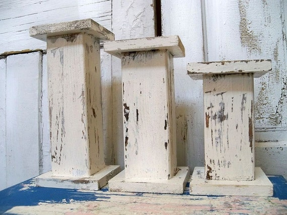 Handmade wooden candle holders large chunky white distressed pillar set OOAK Anita Spero