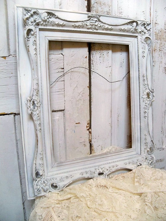 Large White Carved Wood Frame Shabby Chic Ornate Hand Painted