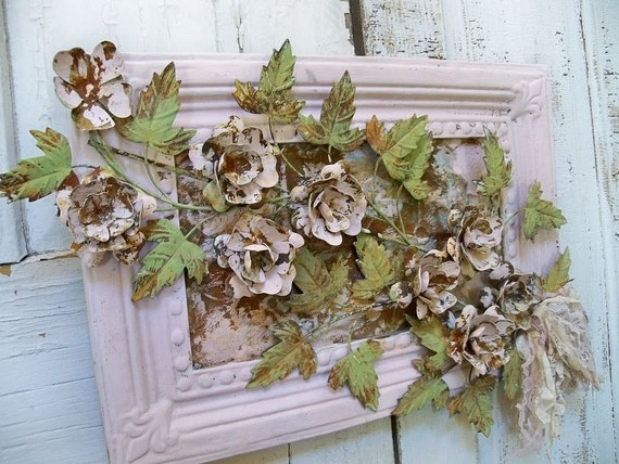 Ornate shabby chic toleware roses in pink frame hand painted up cycled floral design wall decor anita spero