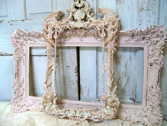 Vintage ornate frame grouping pink white shabby cottage distressed wall decor Anita Spero