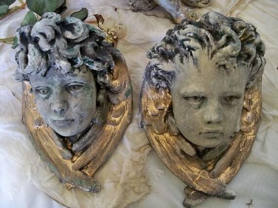 Plaster angel cherub heads distressed hand painted wall decor ooak Anita Spero