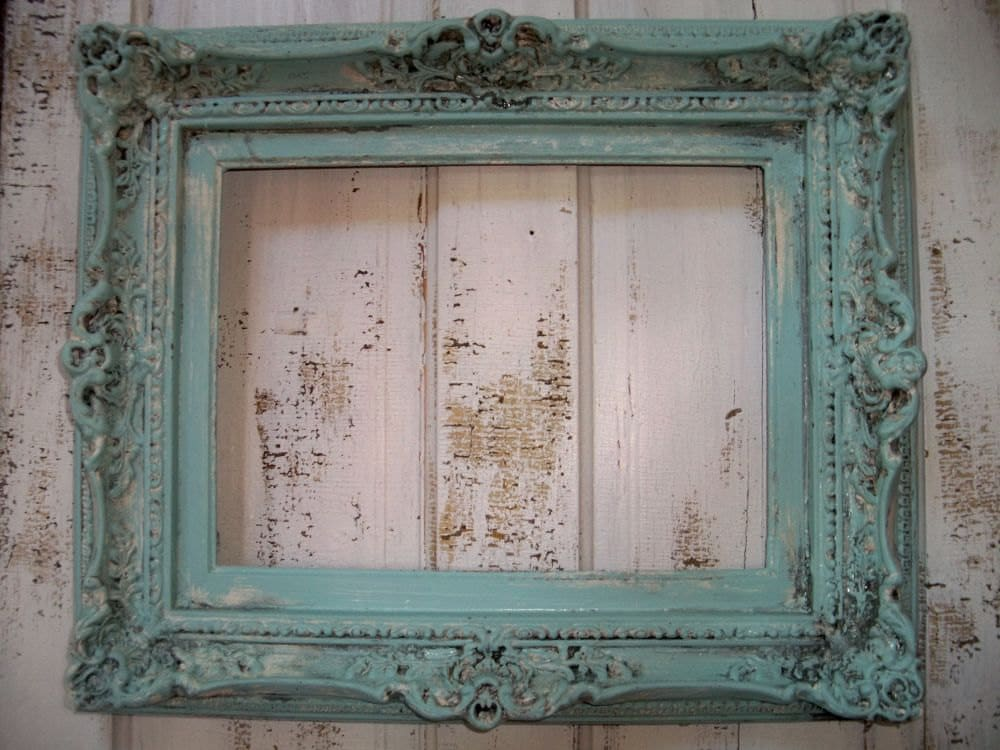 Ornate Large Wood Frame Hand Painted French Blue Heavy Baroque