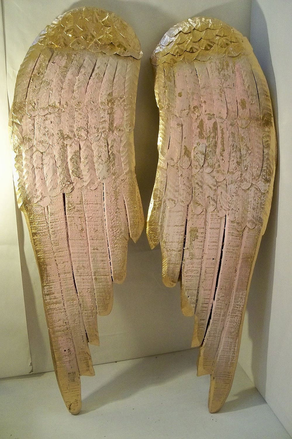 Angel wings large wood metal carved wall sculpture french Home decor sculptures