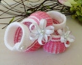 Hand Knitted Baby Booties  in Pink and White - Ready to Ship