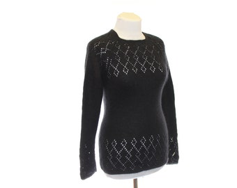 OOAK knited Jumper / Black cat / sweater for women / angora sweater / Black