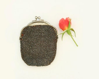 Vintage beaded purse, marcasite coin purse, 1900s, 1910s