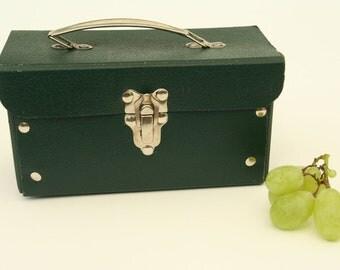 Kindergarten cardboard bag, vintage 1950's green children bag, Italian