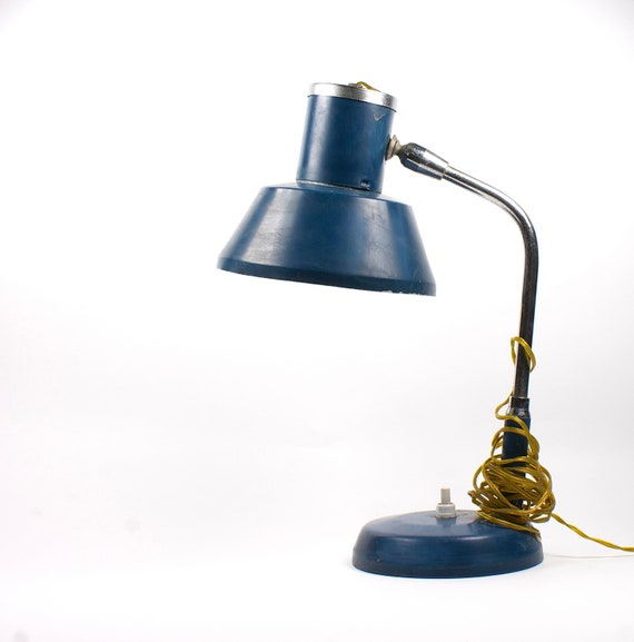 Vintage navy blue table lamp