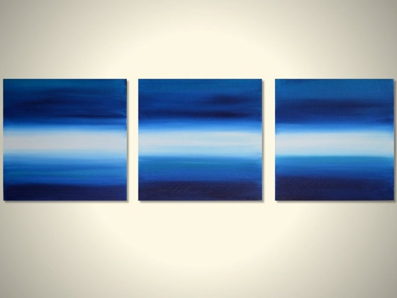 Triptych Original Abstract Landscape Modern Acrylic Painting -  Blue, White, Turquoise Seascape 3 Canvas 12 x 12 - Oceans 3 - FREE SHIPPING