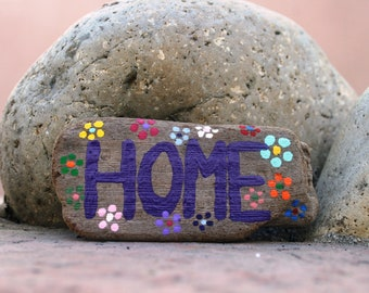 Colorful HOME Driftwood Magnet with Rainbow Dot Flowers (Made to Order) Painted sign, Refrigerator magnet