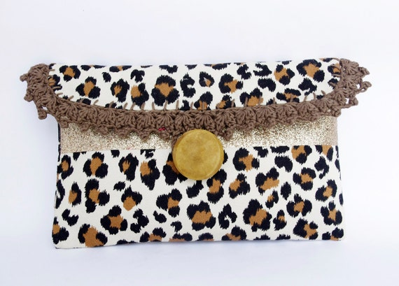 Leopard Clutch, Brown Lace bag, Glitter carry all bag