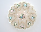Vintage  Wall Decor Made With Lace/ Tiny Rose Buds And Tiny Pearls