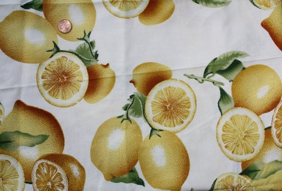 Fruit print on white base - lemons Cotton Fabric from India - Fabric by the yard