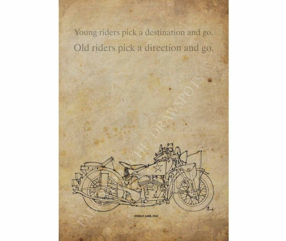 Handmade Sketch for classic motorcycles fans, INDIAN 640B,1942 Quote, A3 - 11.5x16 inches (29 x 41 cm)