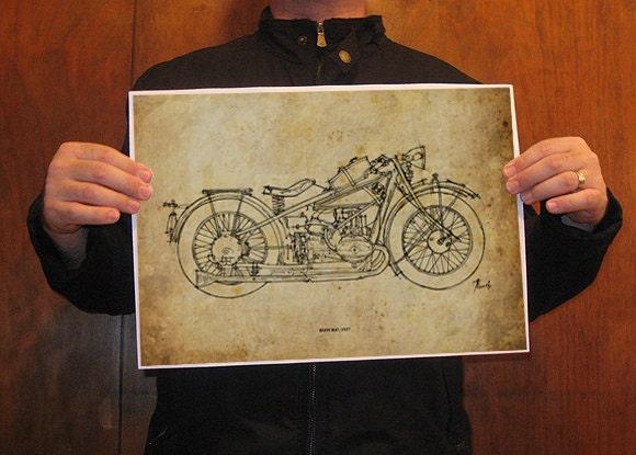 print art  bmw r47 1927 original handmade drawing print