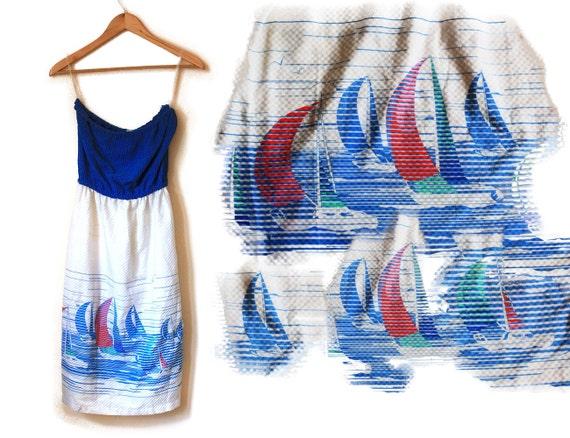 80s / 90s Strapless Sail Boat Ship Blue and White Tube Sleeveless Dress Novelty Pop Art
