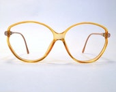PRETTY IN PINK Vintage 80s Two Tone Glasses/Frames In Transparent Orange And Sparkle Pink