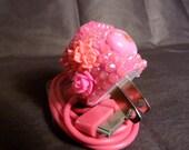 Iridescent Pink Rhinestone iphone 4 Charger
