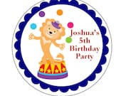 "Personalized Circus 2.5"" round Stickers - Birthday Party Favor - Sheet of 12"
