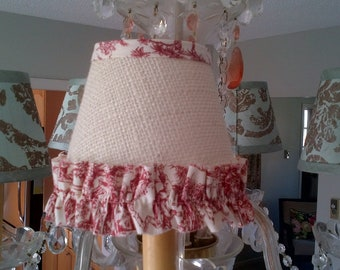 Chandelier Lampshade French Country cream burlap with red toile ruffle