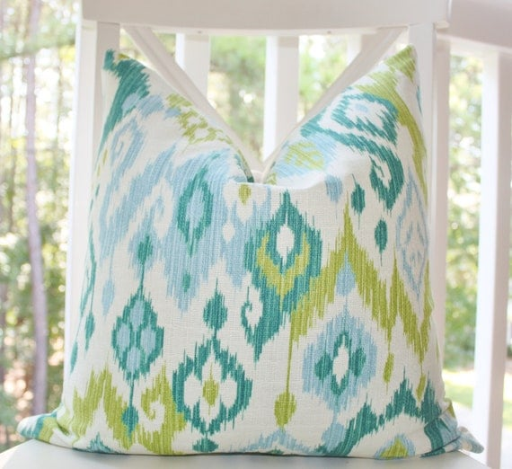Reserved for Judith - Decorative Pillow Ikat Baby Blue Turquoise Teal Chartreuse Green Ivory Designer Pillow Cover 20 x 20 - Throw Pillow
