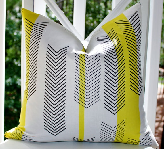 Decorative Pillow Cover - 18 x 18 Yellow Black White Chevron Zig Zag  Designer Pillow Cover - Throw Pillow