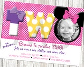 Minnie Mouse Birthday Invitation - Pink and White, Custom with Photo