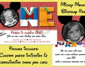 Mickey Mouse Photo Birthday Invitation and Thank You Card Package