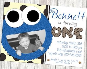 Cookie Monster Birthday Invitation - Sesame Street, Custom with Photo