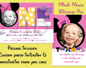Minnie Mouse Photo Birthday Invitation & Thank You Card Package