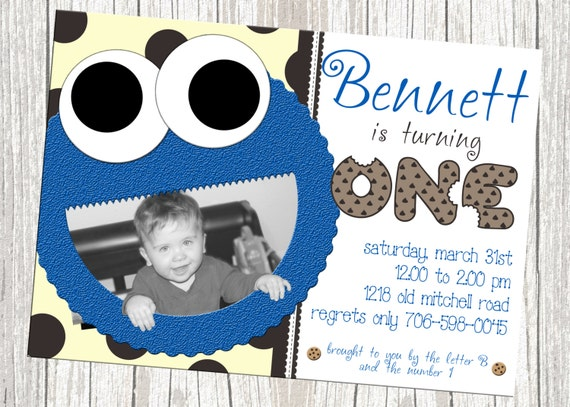 Cookie Monster Birthday Invitation - Sesame Street, Custom with Photo