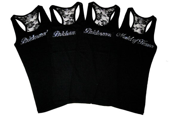 4 Bridesmaid Tank Tops, Will You Be My Bridesmaid, Bride Tank Top, Bridesmaid Proposal, Bachelorette Party Shirts, Bridesmaid Gift, Lace