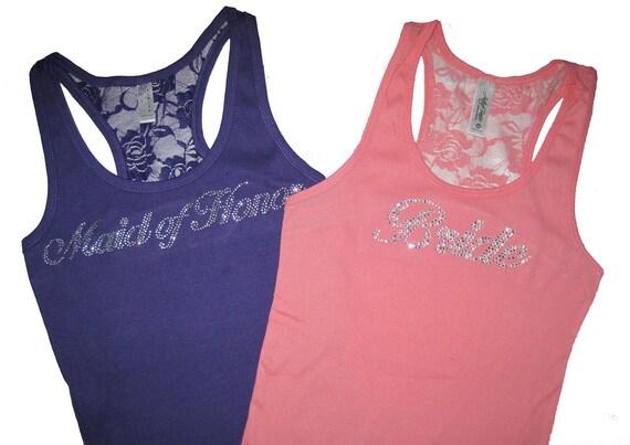 2 Bridesmaid Tank Tops, Bridsmaid Shirts, Lace Tank Tops, Bridesmaid Gifts, Bride Gift, Bachelorette Party Shirts, Bride Tank Top, Weddings