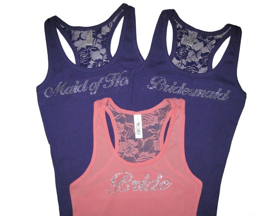 3 Bridesmaid Tank Tops. Bridesmaid Tanks. Bridesmaid Shirts. Bride Tank. Maid of Honor Tank. Bachelorette Party Shirts. Bridesmaid Proposal.
