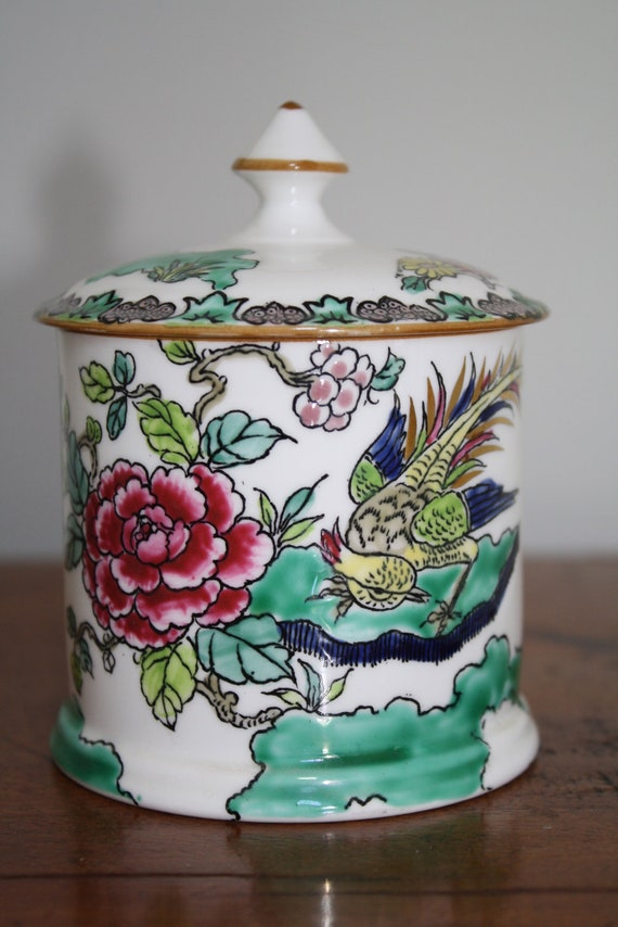 Chinoiserie Staffordshire English chinese bird and peony porcelain crown fine bone china jam jar pot