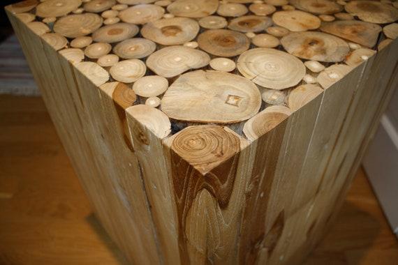 unique vintage natural wood block side table wood cuts alder