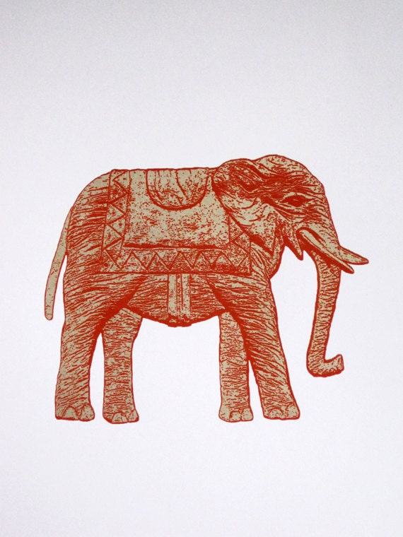 Elephant in Gold and Red - limited edition screenprint