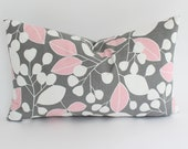Contemporary Pink and Grey Lumbar Pillow Cover with Leaves and Stripes - ThePillowStudioShop
