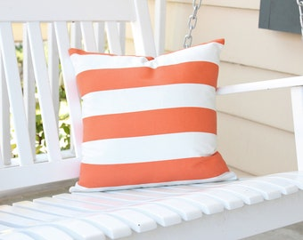 Striped Outdoor Pillow Cover in Tangerine and Ivory