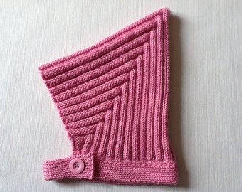 Hand knitted Baby Ribbed Pixie Hat, Vintage style pixie hat,Pink ribbed pixie Hat. Choose your colour. Made to order.