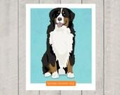 Bernese Mountain Dog Art Print - Dog Art - 8x10