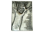 Metal Plaque Pewter Embossed Tree Text No Loss for embellishing notebooks, card making, art for framing, inspirational wall art
