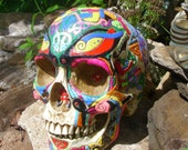 Day of the Dead Hand Painted Resin Sugar-Skull OOAK