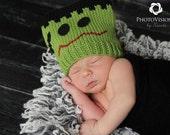 Halloween Photo Prop  - Newborn Baby Frankenstein Green and Black Hat.... Fall Newborn Baby Hat.....Baby Frankenstein Costume Hat....
