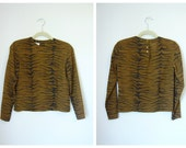Vintage ANIMAL PRINT Cropped Blouse Size XSmall/Small