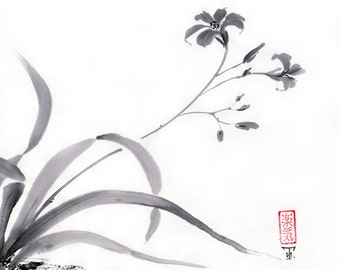 "Original Art ""Wild Lily""  - Japanese sumi-e painting - wash ink  - Wall decor - dormitory decor - gift for her- black and white - minimalist"